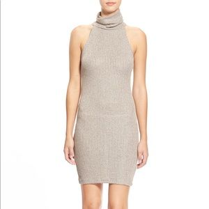 Topshop nude rib turtleneck sleeveless knit dress